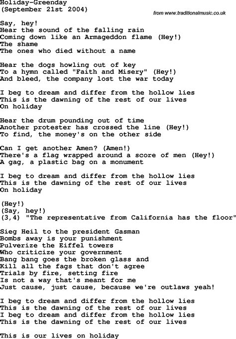 day song in protest song greenday lyrics and chords quot