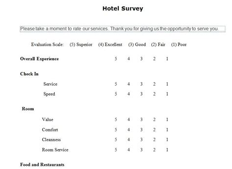 Hotel Guest Survey Template Printable Templates Printable Microsoft Templates
