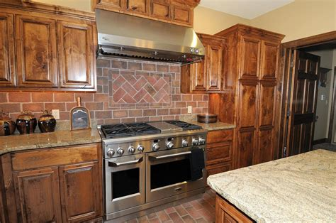 faux brick backsplash ideas pictures remodel and decor large rustic kitchen design with faux red brick backsplash