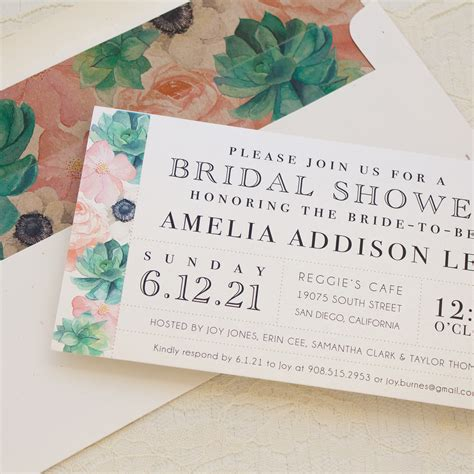 when should bridal shower invitations be mailed blush succulent customizable bridal shower invites beacon