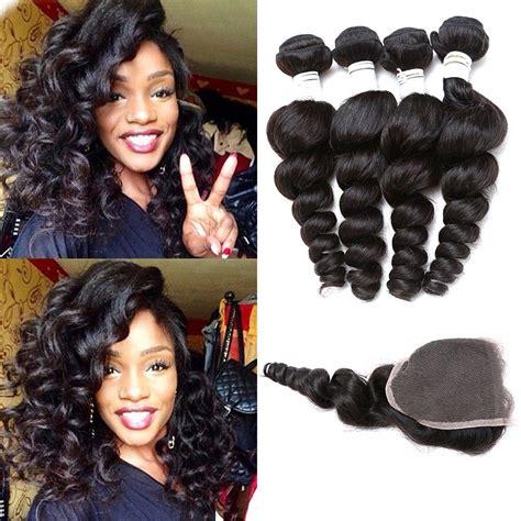 human hair weave closure with bangs peruvian virgin hair with closure loose wave with closure