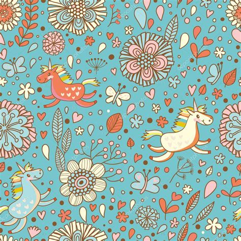 cute little pattern cute floral seamless pattern with small rainbow unicorns