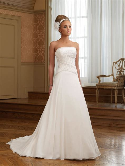 chiffon strapless ruching bodice a line wedding dress a