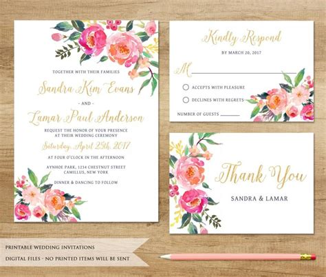 printable wedding invitations floral watercolor floral wedding invitation printable wedding