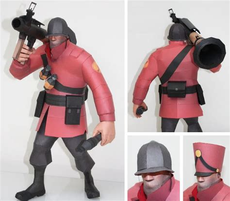 Team Fortress 2 Papercraft - papermau team fortress 2 soldier with rocket launcher