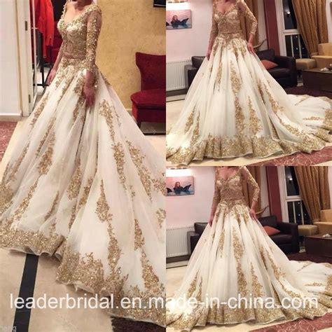 Sle Designer Wedding Dresses by 2017年の金のレースの花嫁衣装はアラビアウェディングドレスw15224にスリーブを付ける写真 オン Jp Made