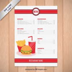 fast food restaurant menu template vector free download