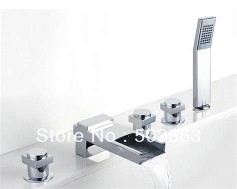 5 piece bathtub faucet deck mounted 5 piece set faucet bathroom waterfall sink