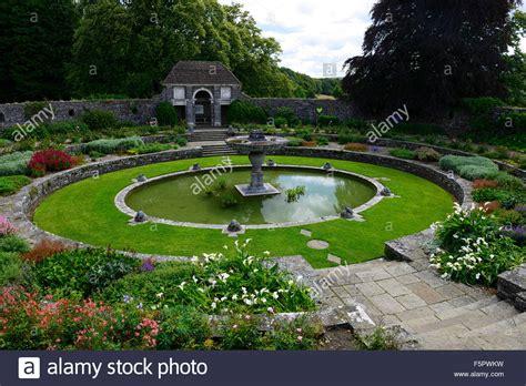 sunken round oval pond garden heywood gardens garden formal designed stock photo royalty free