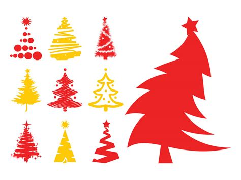 christmas trees silhouettes