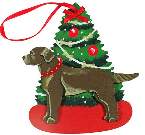 chocolate labrador retriever dog christmas ornaments