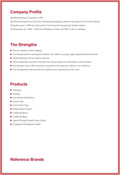 company profile template doc company profile format word
