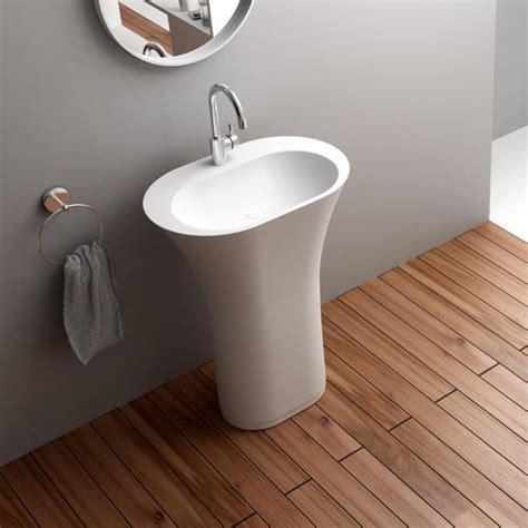 Bathroom Pedestal Sinks Ideas Free Standing Solid Surface Stone Modern Pedestal Sink 25