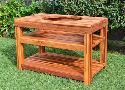 Patio Table With Built In Grill Outdoor Wood Table With Built In Grill Storage Forever Redwood