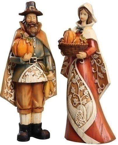 thanksgiving figures check price set of 2 harvest and pilgrim