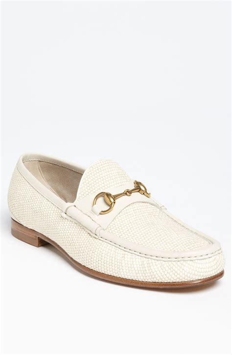 gucci loafers white gucci roos straw bit loafer in white for white