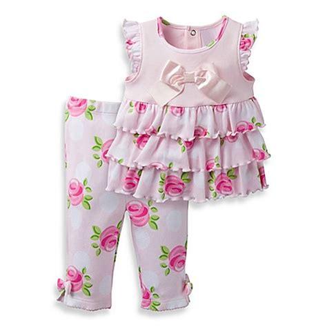 Sale Legging Set Pink david tutera 2 sweet flutter sleeve top and legging set in pink bed bath beyond