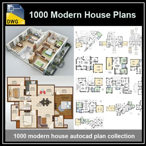 plan collection modern house plans 1000 modern house autocad plan collection download cad
