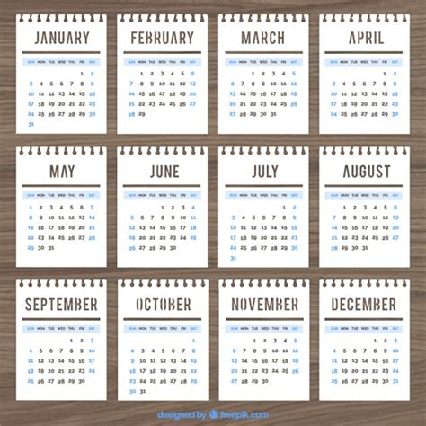 Calendar Notebook Calendar Template In Notebook Style Vector Free