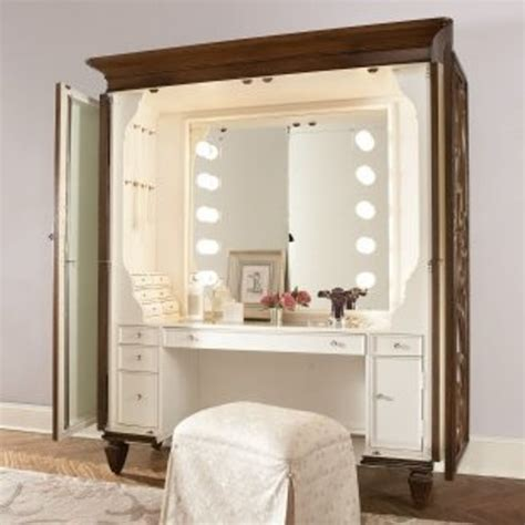 armoire turned into vanity makeup center hobby room
