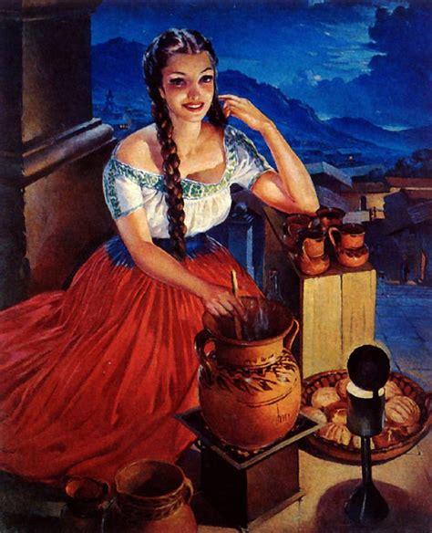 imagenes pin up vintage 1940s mexico latina senorita woman w pot advertisement