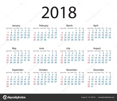 Calendario 2018 Eps Calendar 2018 Year Simple Style Week Starts From Sunday