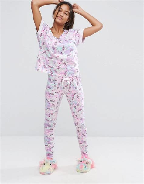 Set Piyama Unicorn asos asos unicorn print legging pyjama set