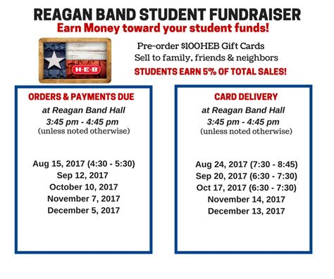 Gift Cards Sold At Heb - heb gift cards 2017 2018 schedule ronald reagan high school bandronald reagan