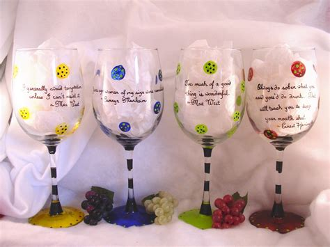 Modern Wine Glasses hand painted contemporary wine glass with wine sayings