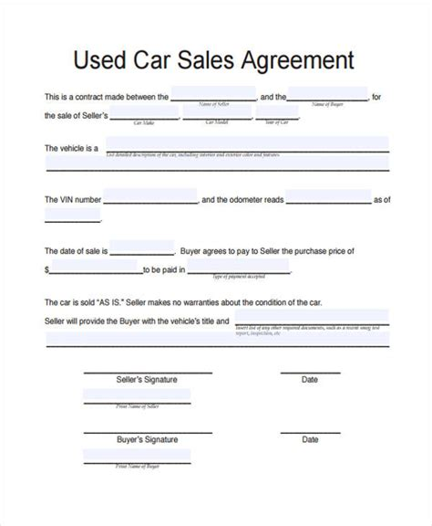 used vehicle sales agreement template 32 sales agreement form in pdf