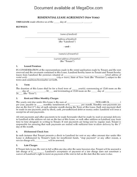 New York Fixed Term Residential Lease Agreement Legal Forms And Business Templates Megadox Com Fixed Term Lease Agreement Template