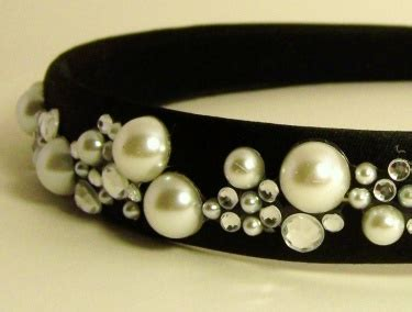 Handmade Hairbands - satin black headband handmade with pearls and rhinestones