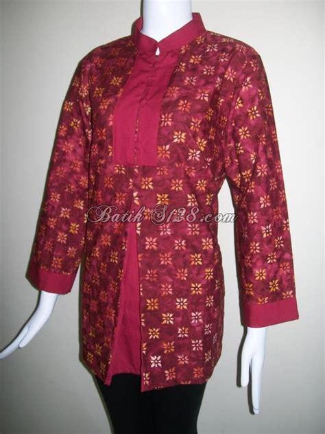 Batik Tenun Maroon blus batik warna merah maroon batik cap model terkini