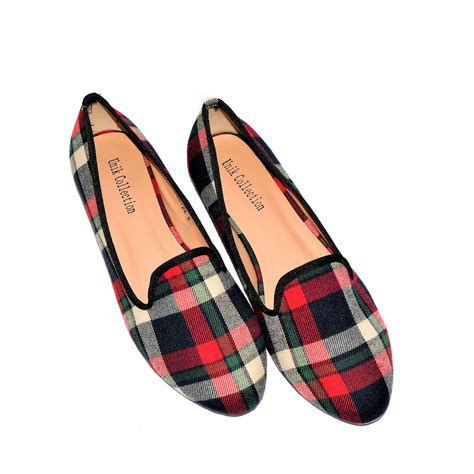 loafer slippers plaid slippers loafer shoes unik collection