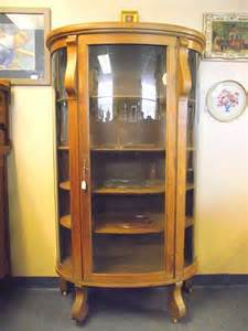 Antique Oak China Cabinet Curio Cupboard Curved Glass Empire Antique Curved Glass Bow Front Oak China Hutch Curio 5 Shelf