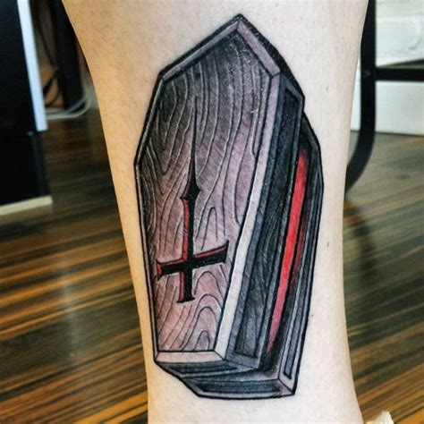 inverted cross tattoos style colored wooden open coffin with inverted cross