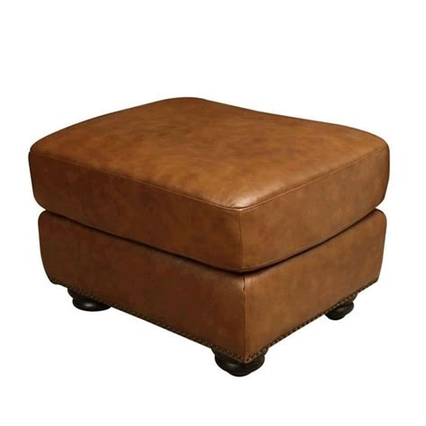 abbyson ottoman abbyson living erickson leather ottoman in camel brown