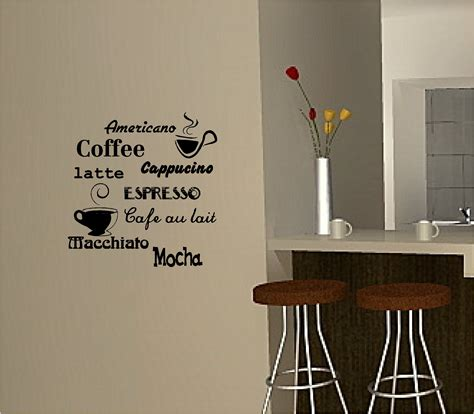 kitchen wall decor ideas gooosen com coffee wall art sticker vinyl quote kitchen cafe coffee