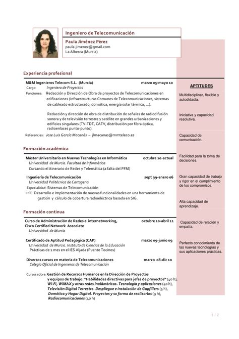 Modelo De Curriculum De Hosteleria Cv Paula Jimenez Septiembre 2011 Web
