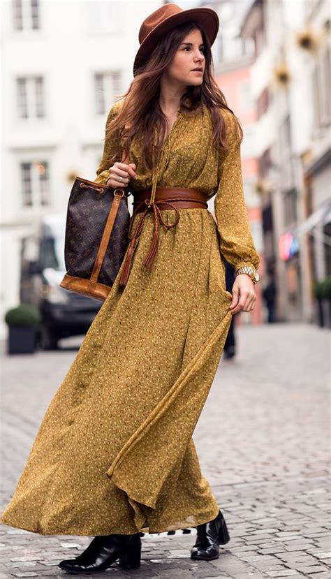 what is bohemian style bohemian winter by the fashion fraction yellow mustard dress bell sleeve style