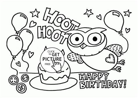 printable birthday cards owl funny owl on the birthday card coloring page for kids