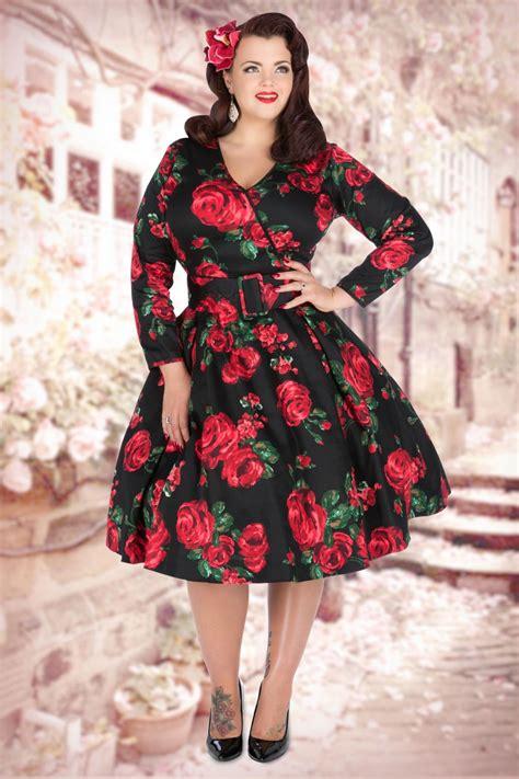 Dress Roses Black 50s cosette dress in black