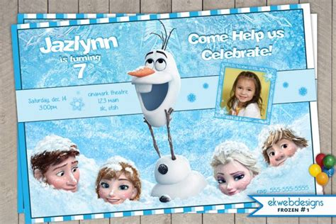 personalized disney frozen birthday invitation templates for girls