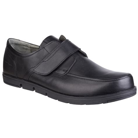 Black Hush Puppies hush puppies mens black leather velcro shoes