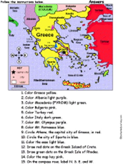 Historical Outline Map 7 Ancient Greece Answers by Map Of Greece Quiz Coloring Printout Answers Enchantedlearning