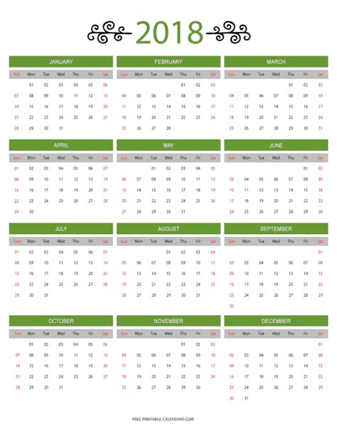 Calendar 2018 12 Months 12 Month Colorful Calendar For 2018 Free Printable Calendars