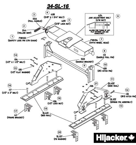 fifth wheel parts diagram hijacker 5th wheel hitch 16k slider 34 sl 16