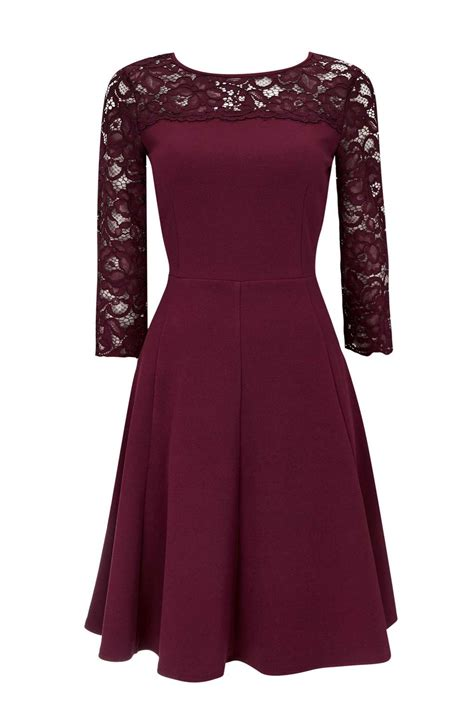 berry lace fit and flare dress dresses wallis