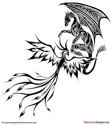 dragon and phoenix tattoo designs tribal design of a fighting