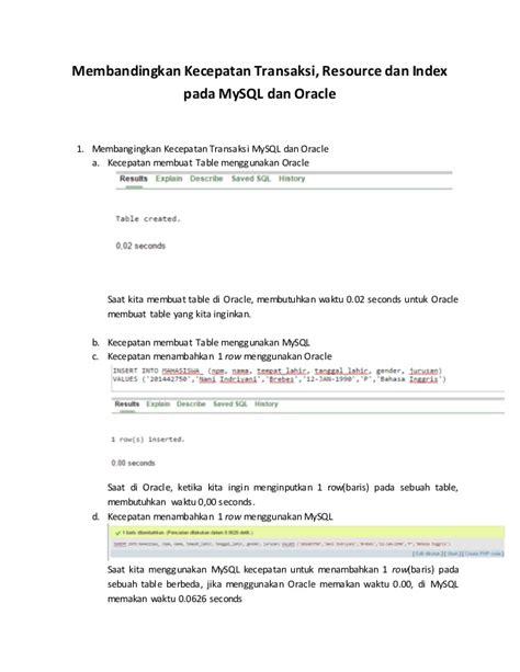 Oracle Mba by Mysql Vs Oracle Kecepatan Transaksi Index Dan Resource Doc